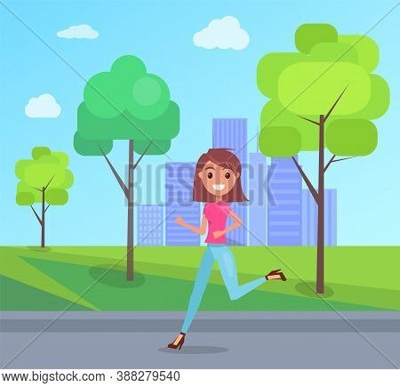 Happy Girl Joyfully Runing And Laughing In City Park Summer Day. Concept Of Happiness And Fun. Young