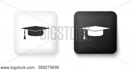Black And White Graduation Cap Icon Isolated On White Background. Graduation Hat With Tassel Icon. S