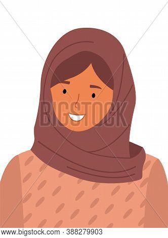 Beautiful Muslim Woman Wearing Hijab. Fashion Woman Portrait Flat Style. Stylish Islamic Lady Isolat