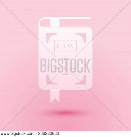 Paper Cut Law Book Statute Book With Scales Of Justice Icon Isolated On Pink Background. Paper Art S