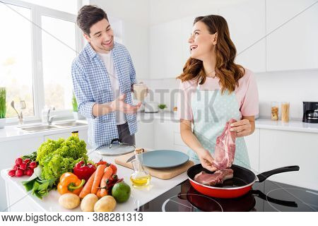 Two People Dream Harmony Married Couple Enjoy Hobby Cooking Girl Fry Raw Organic Meat Pan Communicat