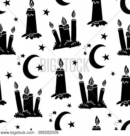 Silhouette Wax Candle And Crescent Seamless Pattern. Burning Wax Light At Night Vector Illustration.