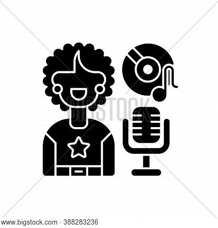 Soul Music Black Glyph Icon. Vinyl With Note. Retro Microphone. Singer Woman With Stared Sweatshirt.