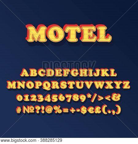 Motel Vintage 3d Vector Alphabet Set. Retro Bold Font, Typeface. Pop Art Stylized Lettering. Old Sch