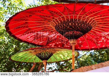 Colourful Burmese Parasols, Handmade Colorful Umbrellas. Iconic Craft Painted Style Asian Parasol. O