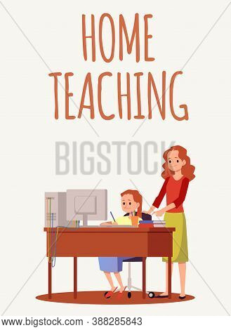 Home Teaching And E-learning Banner Or Poster Design Flat Vector Illustration.