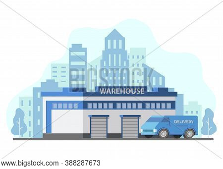 Warehouse Building Storage Delivery Lorry.city Skyline Skyscrapers.