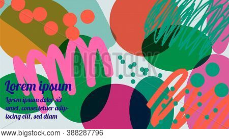 Bright Abstract Background With Strokes, Marker, Spots, Geometric Shapes. Collage With Fantasy Shape