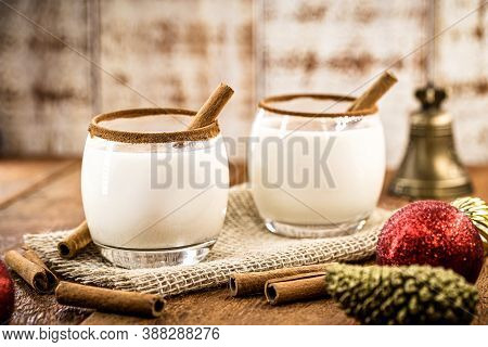Hot Eggnog Typical Of Christmas, Made At Home All Over The World, Based On Eggs And Alcohol. Called