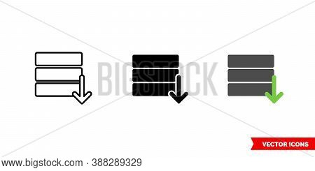 Database Export Icon Of 3 Types Color, Black And White, Outline. Isolated Vector Sign Symbol.