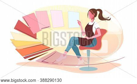 Woman Chooses Colors Modern Concept Illustration. Designer Select Pantone Swatches For Decoration Wo
