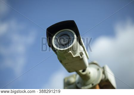 Video Surveillance Camera. Security System Of The Territory. Surveillance Camera On The Street. Reco