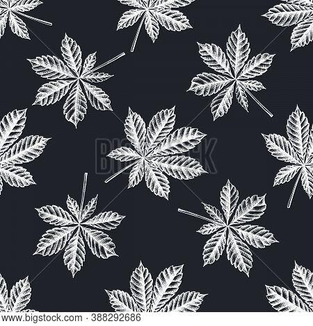 Seamless Pattern With Hand Drawn Chalk Horse Chestnut Stock Illustration