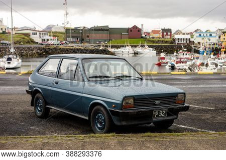 Stykkisholmur, Iceland - July 9, 2014: First Generation Of Legendary Ford Fiesta Small Car With Orig