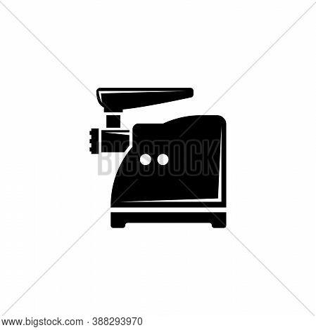 Meat Grinder, Electric Mincer, Chopper. Flat Vector Icon Illustration. Simple Black Symbol On White