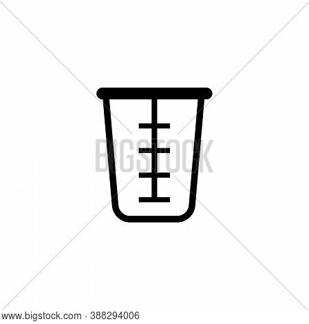 Beaker Glass Cap, Kitchen Measuring Cup. Flat Vector Icon Illustration. Simple Black Symbol On White