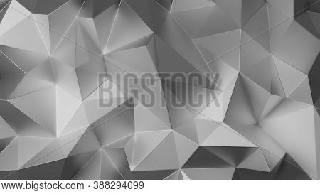Silver Triangle Low Polygon. Gray Geometric Triangular Polygonal. Abstract Mosaic Background. 3d Ren