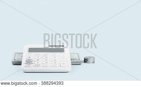Finance Concept With Calculator And Stack Of Money Dollars On Blue. Finance Markets Investments Loan