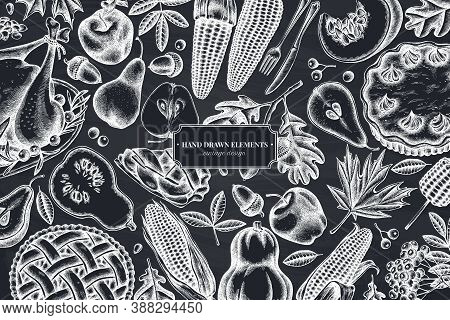 Monochrome Design With Chalk Pumpkin, Fork, Knife, Pears, Turkey, Pumpkin Pie, Apple Pie, Corn, Appl
