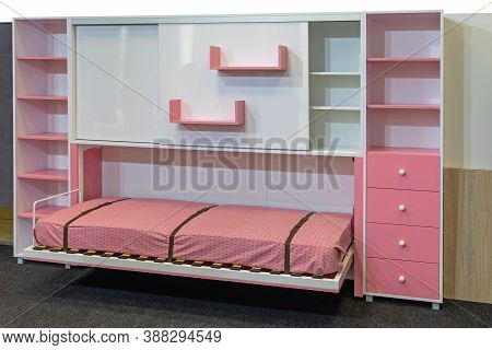 Murphy Bed Folded Down In Childrens Room