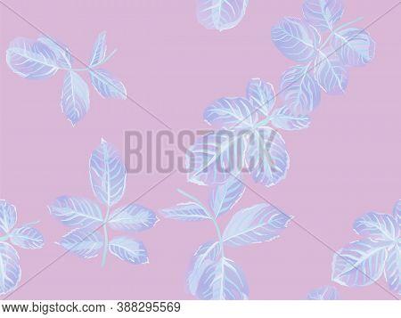 Proton Purple Romantic Botanical Vector Background. Rose Leaves Seamless Pattern. Painted English Ro