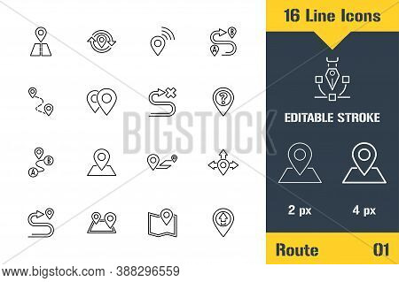 Route, Location, Navigation Way. Thin Line Icon - Outline Flat Vector Illustration. Editable Stroke