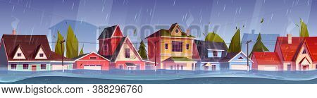 Flood In Town, River Water Stream Flow At City Street With Cottage Houses. Natural Disaster With Rai
