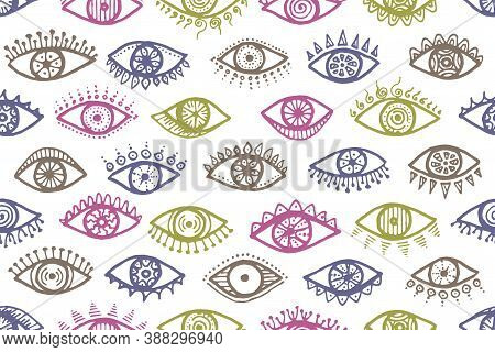 Hand Drawn Human Eyes Colorful Seamless Pattern. Pop Art Graphic Style Illustration. Makeup Packagin
