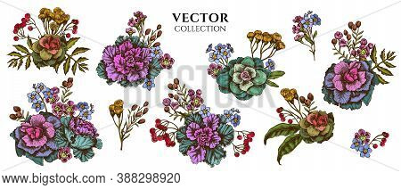 Flower Bouquet Of Colored Wax Flower, Forget Me Not Flower, Tansy, Ardisia, Brassica, Decorative Cab