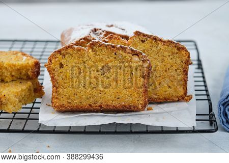 Pumpkin Bread Cake With Pumpkin And Nuts For Autumn Fall Dinner.