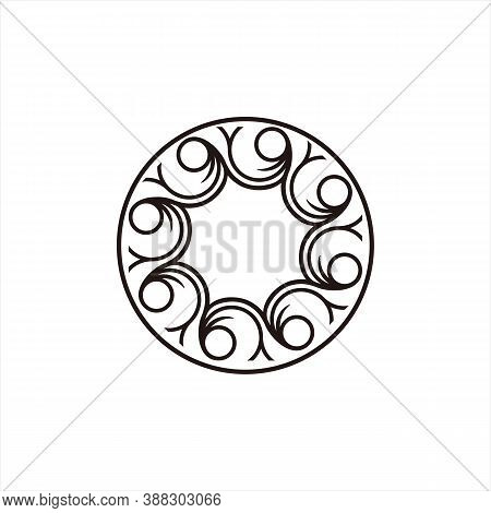 Laser Cutting Template. Christmas Engraved Round Openwork. Vector Graphics For Wedding Invitations,