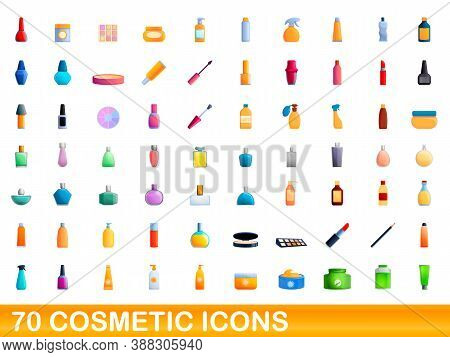70 Cosmetic Icons Set. Cartoon Illustration Of 70 Cosmetic Icons Vector Set Isolated On White Backgr