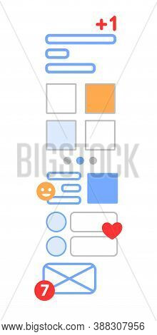 Vertical News Feed, Social Networks And Communities, Paging News And Posts. Line Vector. Concept Of