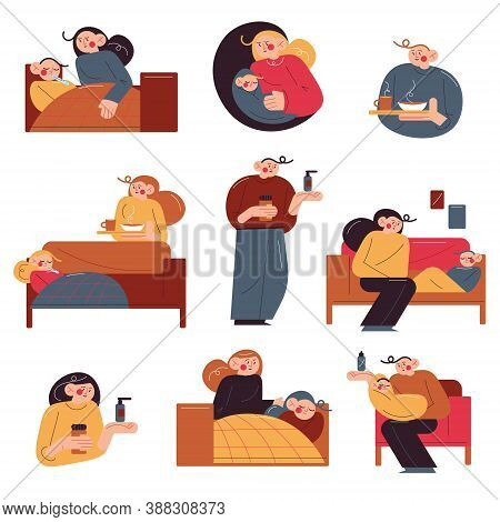 Set Of Parents Taking Care Of Their Ill Children At Home