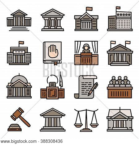 Courthouse Icons Set. Outline Set Of Courthouse Vector Icons For Web Design Isolated On White Backgr