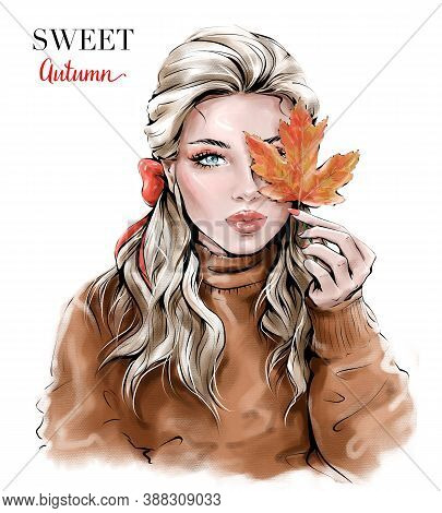 Hand Drawn Beautiful Young Woman With Autumn Leaf. Fashion Woman.