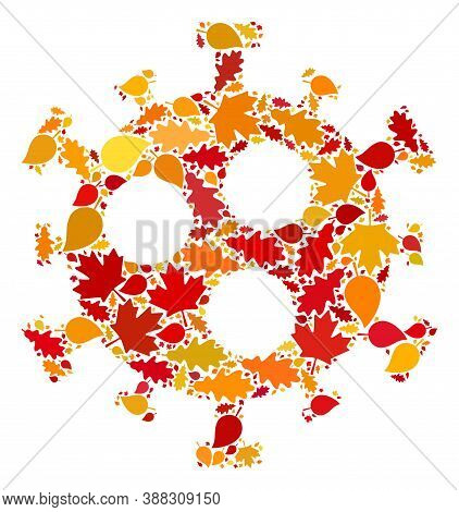 Covid-2019 Virus Mosaic Icon Organized For Fall Season. Vector Covid-2019 Virus Mosaic Is Designed F