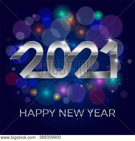 2021, Happy New Year. Banner Or Invitation, Party Poster Gold Glittering Stars Confetti Glitter Deco