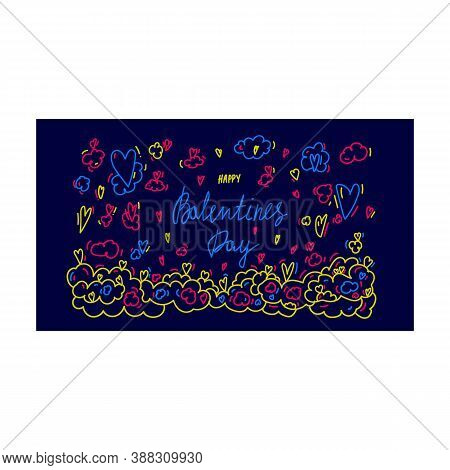 Banner On A Dark Background In The Style Of Doodle For Love Day. The Illustration Is Hand - Drawn Wi