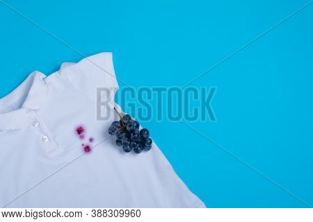 Dirt On A White T-shirt Stain From Fresh Grapes