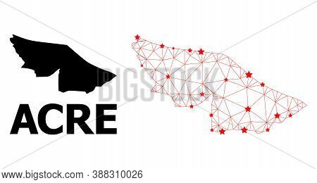 Network Polygonal And Solid Map Of Acre State. Vector Model Is Created From Map Of Acre State With R