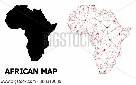 2d Polygonal And Solid Map Of Africa. Vector Structure Is Created From Map Of Africa With Red Stars.