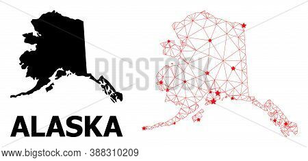 Wire Frame Polygonal And Solid Map Of Alaska State. Vector Structure Is Created From Map Of Alaska S