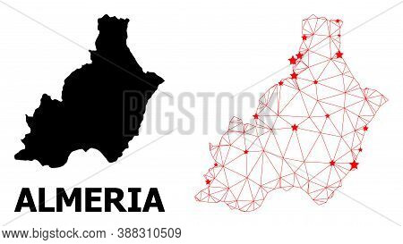 Wire Frame Polygonal And Solid Map Of Almeria Province. Vector Structure Is Created From Map Of Alme