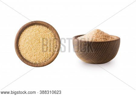 Heap Of Cane Sugar Isolated On White Background. Heap Of Brown Sugar On White Background. Top View.