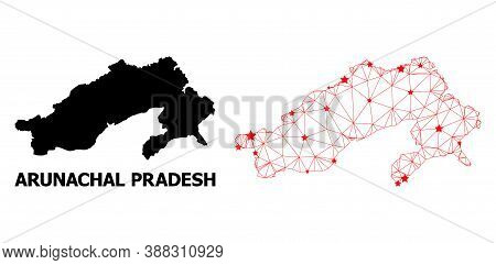 Wire Frame Polygonal And Solid Map Of Arunachal Pradesh State. Vector Structure Is Created From Map
