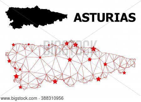 2d Polygonal And Solid Map Of Asturias Province. Vector Structure Is Created From Map Of Asturias Pr