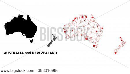 2d Polygonal And Solid Map Of Australia And New Zealand. Vector Model Is Created From Map Of Austral