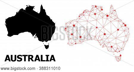 Carcass Polygonal And Solid Map Of Australia. Vector Model Is Created From Map Of Australia With Red