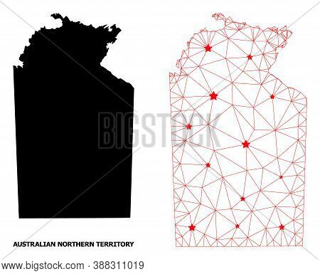 2d Polygonal And Solid Map Of Australian Northern Territory. Vector Structure Is Created From Map Of